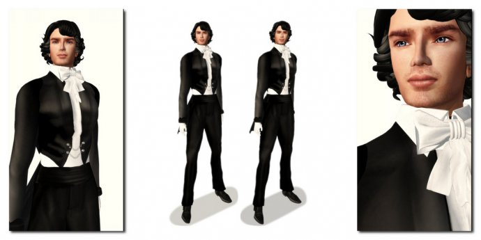 Fashion - RFyre Eitiene Mens Tux Black: Satin, X3D triptych