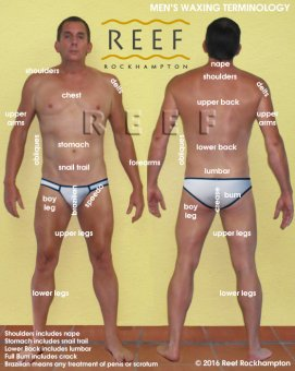 Body Part definitions for Men's Body Waxing in Rockhampton